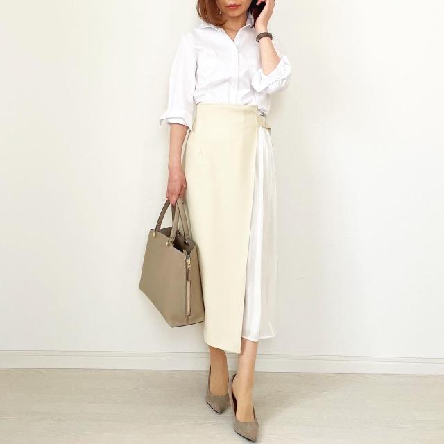 白シャツ×異素材mixスカートできれいめスタイル【tomomiyuコーデ】_1_2