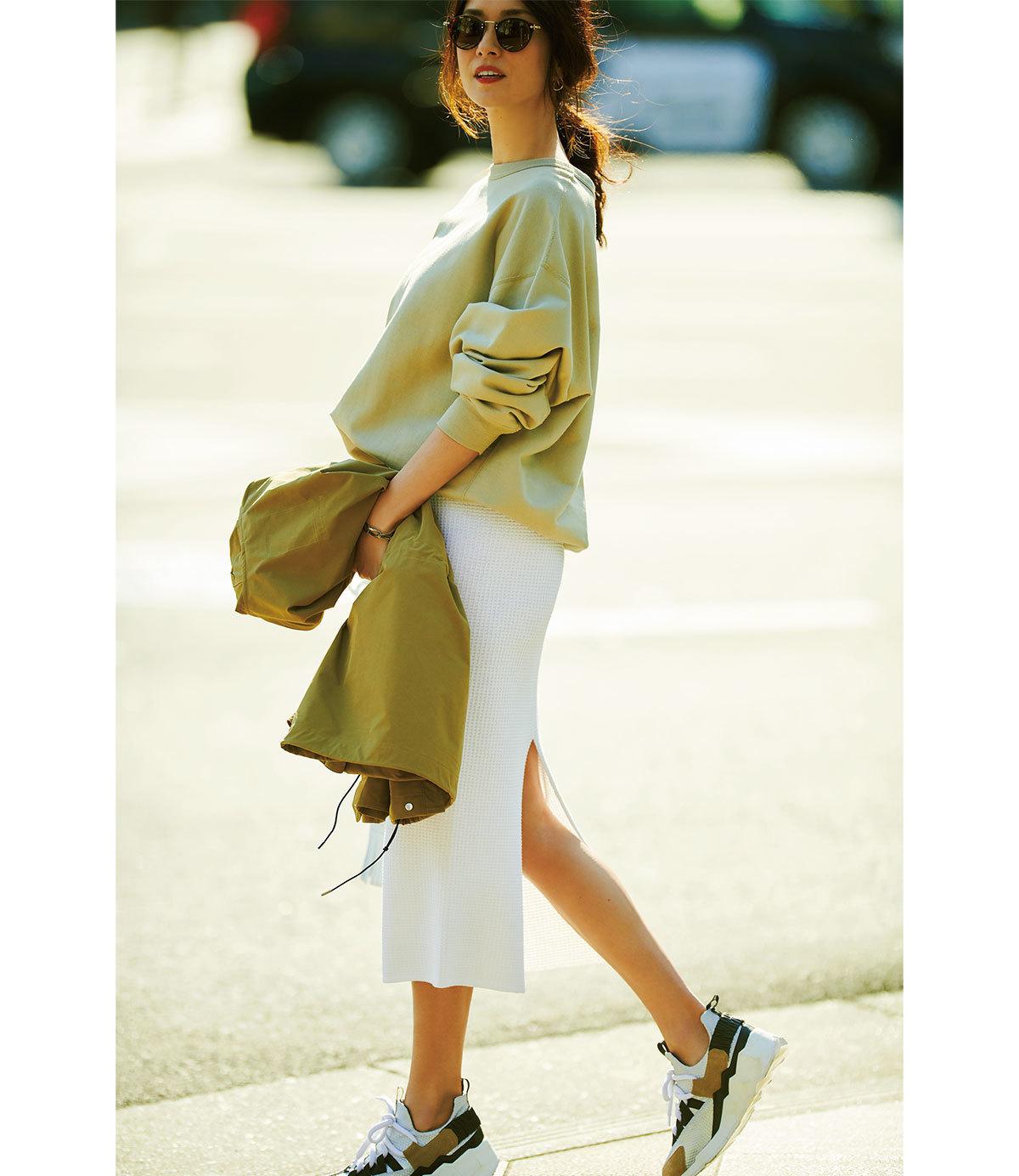 ■ビッグスウェット×Iラインスカートコーデ