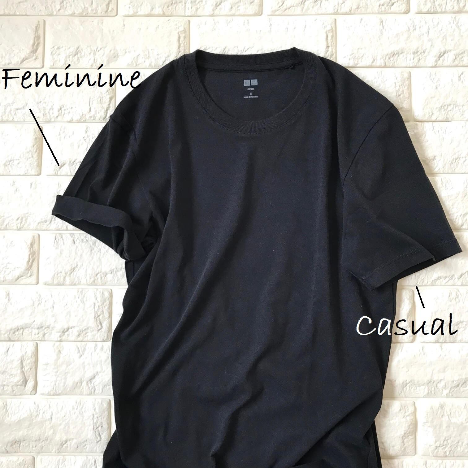 Tシャツの袖を折り比べた画像