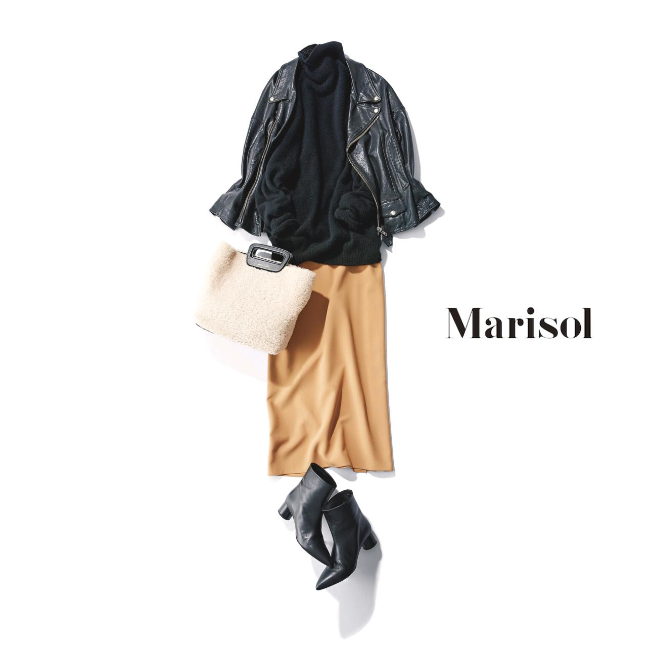 40代ファッション 黒タートルネックニット×レザーブルゾン×ロングスカートコーデ