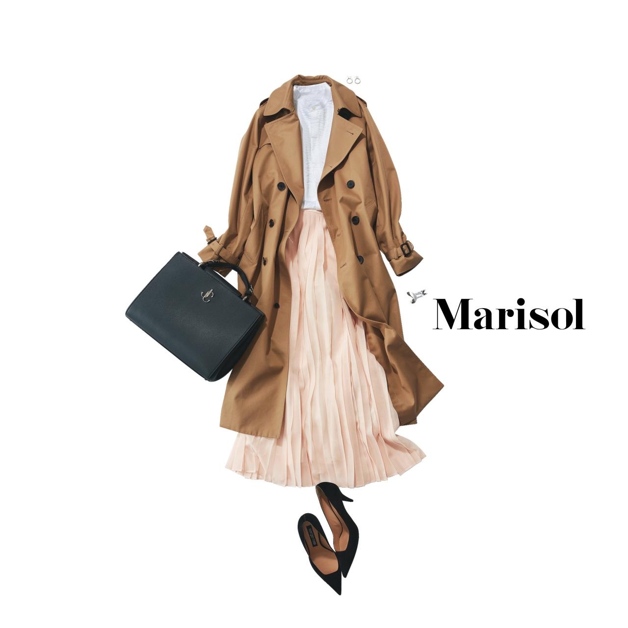 40代ファッション トレンチコート×プリーツスカートコーデ