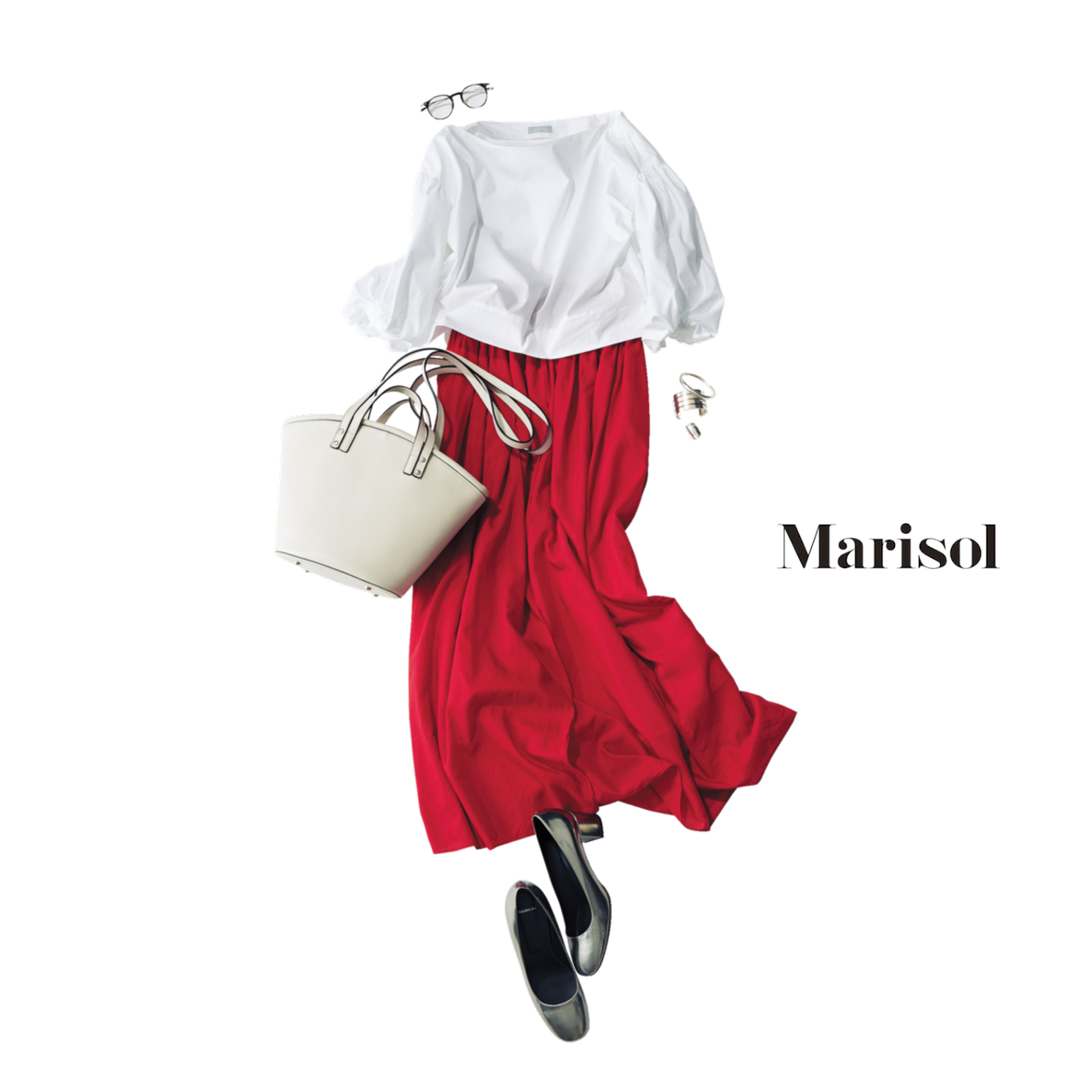赤いスカートが華やかさを演出する大人の清潔感コーデ
