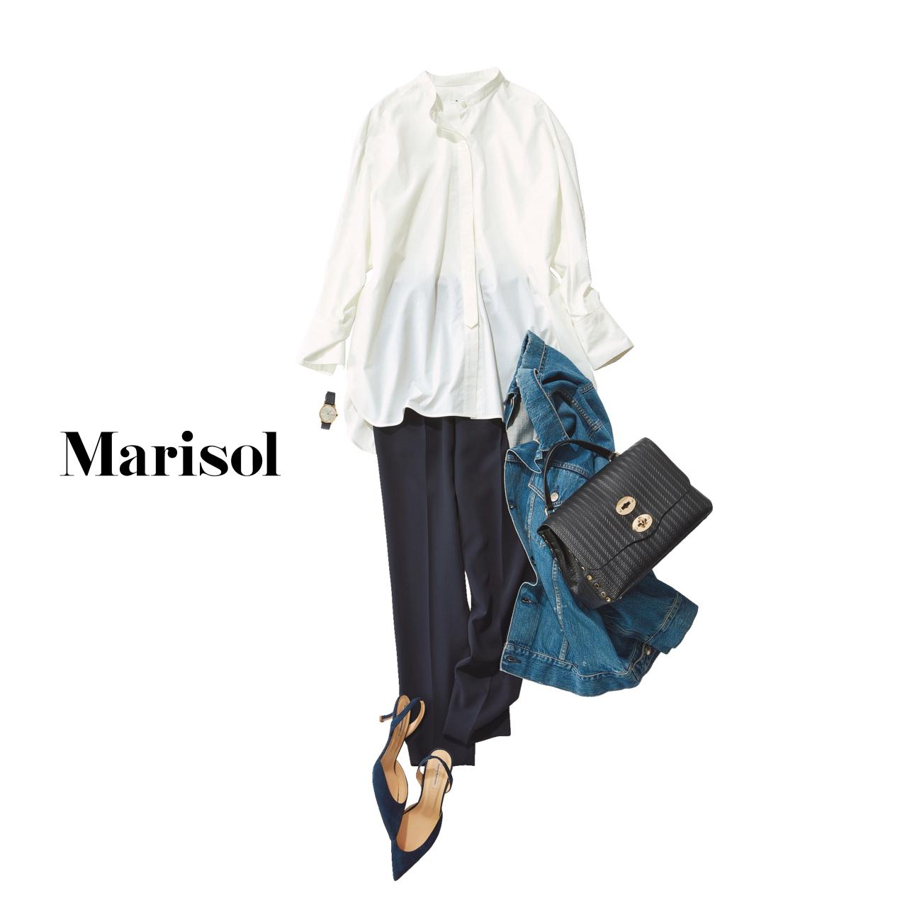 40代ファッション 白ブラウス×ネイビーパンツ×デニムジャケットコーデ