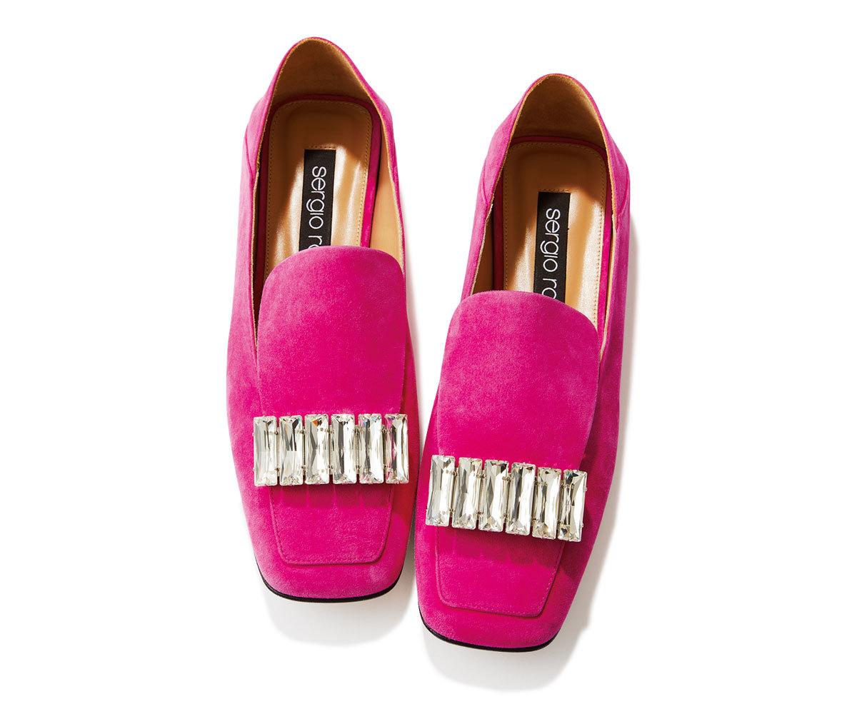 40代ファッション2019年夏のお買い物_Sergio Rossiのピンクスリッパサンダル