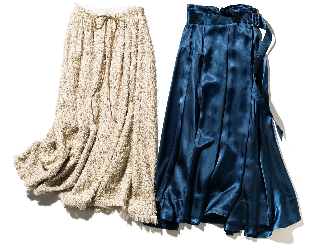 磯部のツヤ素材のラップスカート、三尋木のツイードのフレアスカート