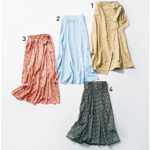 「無地見え」するロング丈の柄スカート