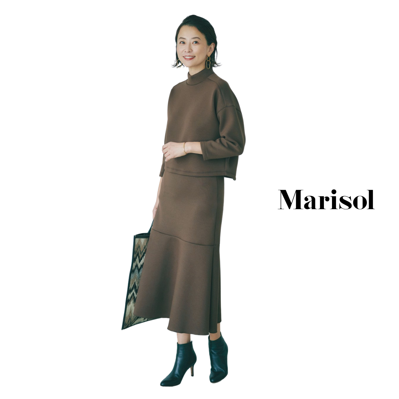 40代ファッション ニット×ニットスカートのセットアップコーデ