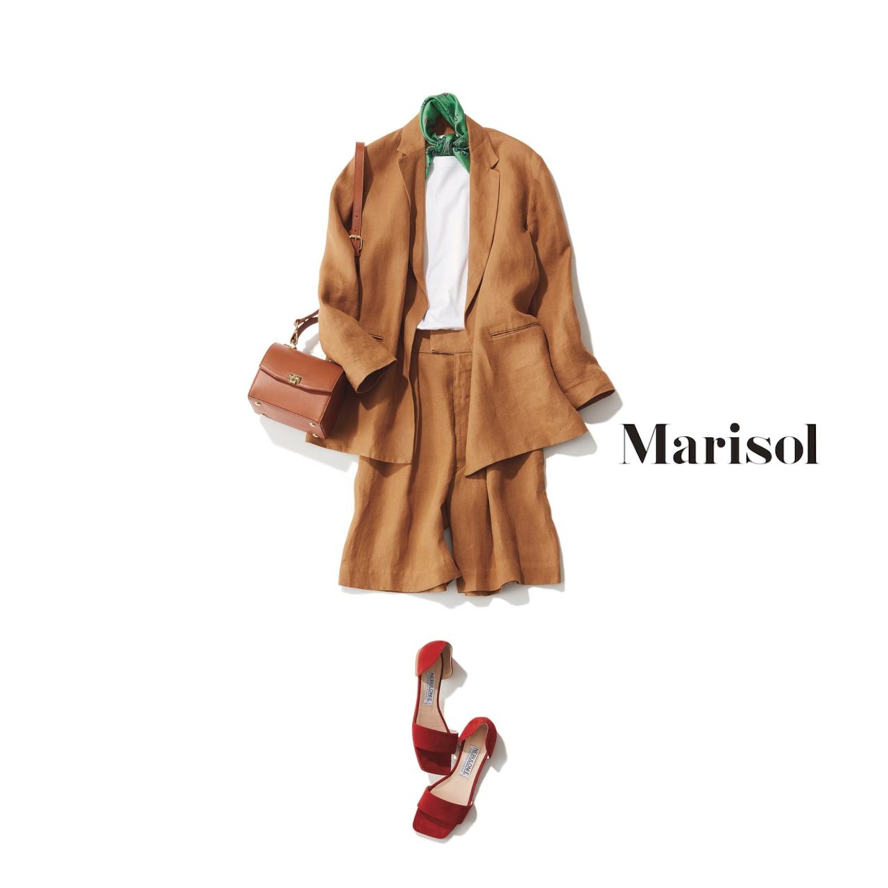 40代ファッション ベージュのセットアップコーデ