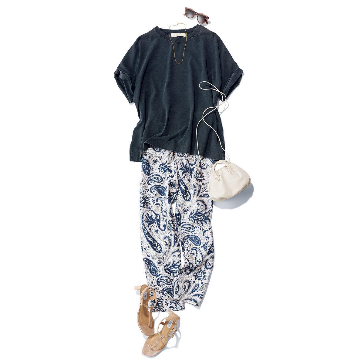 ■スミクロTシャツ × 柄パンツ