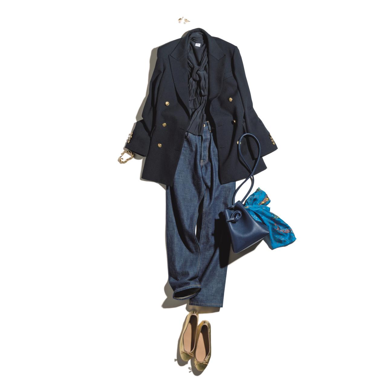 紺ジャケット×デニムのファッションコーデ