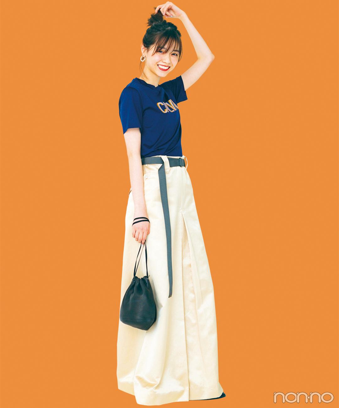 西野七瀬はコンパクトTシャツとワイドパンツでメリハリバランス【毎日コーデ】