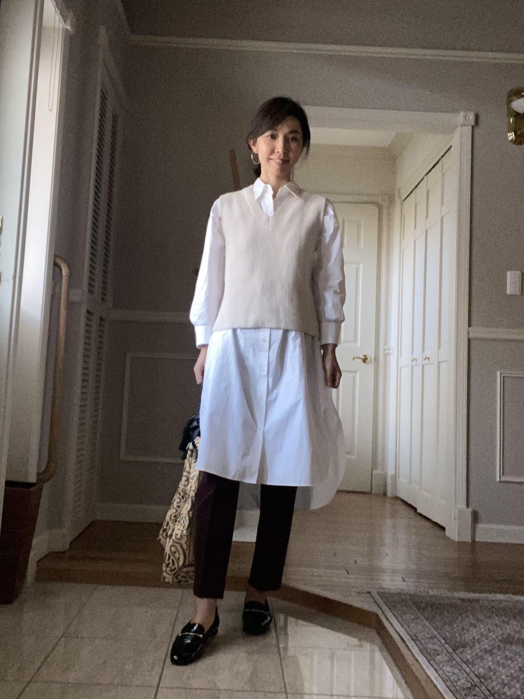 ZARAの春物ベスト×ロングシャツ_1_2