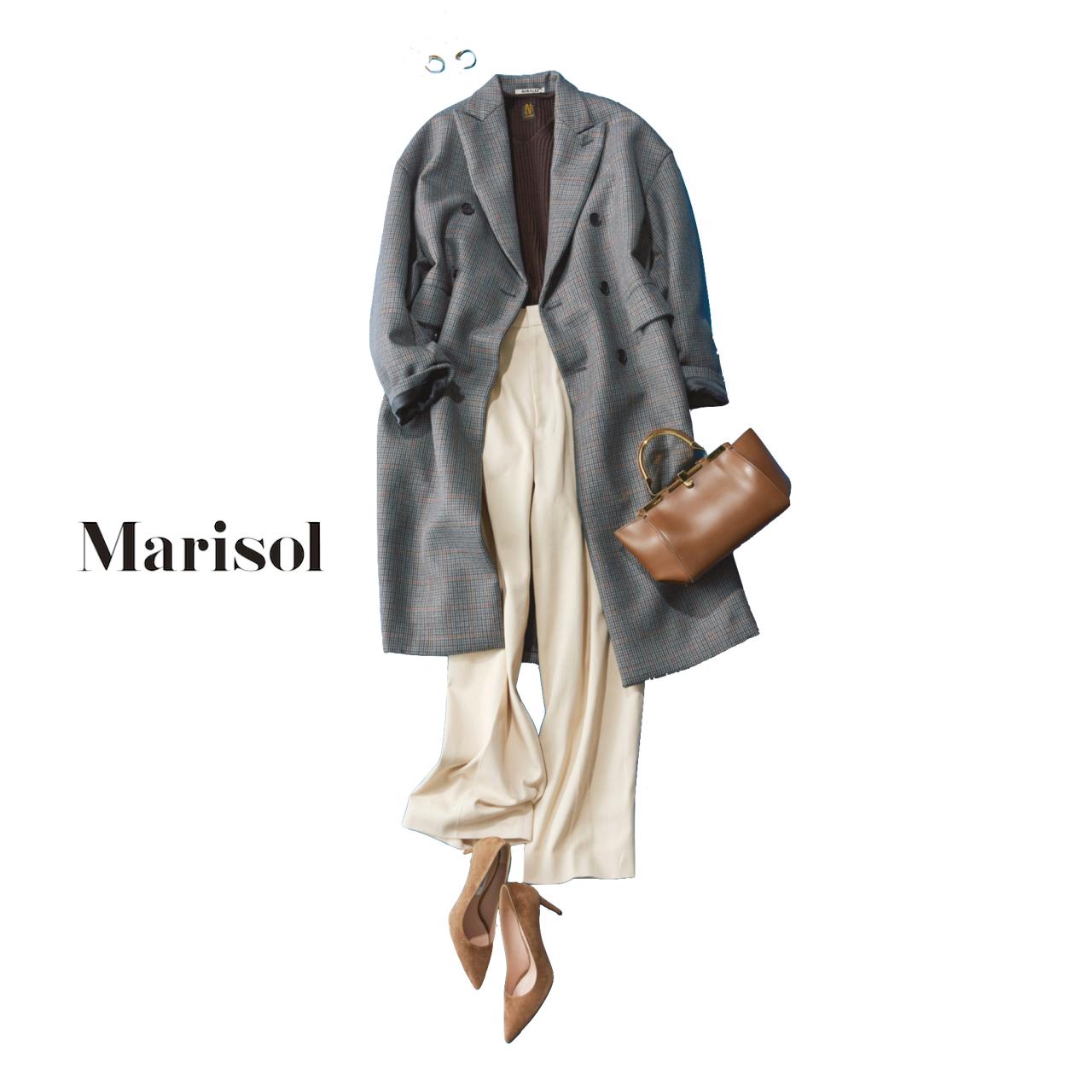 40代ファッション ピークドラペルコート×パンツコーデ