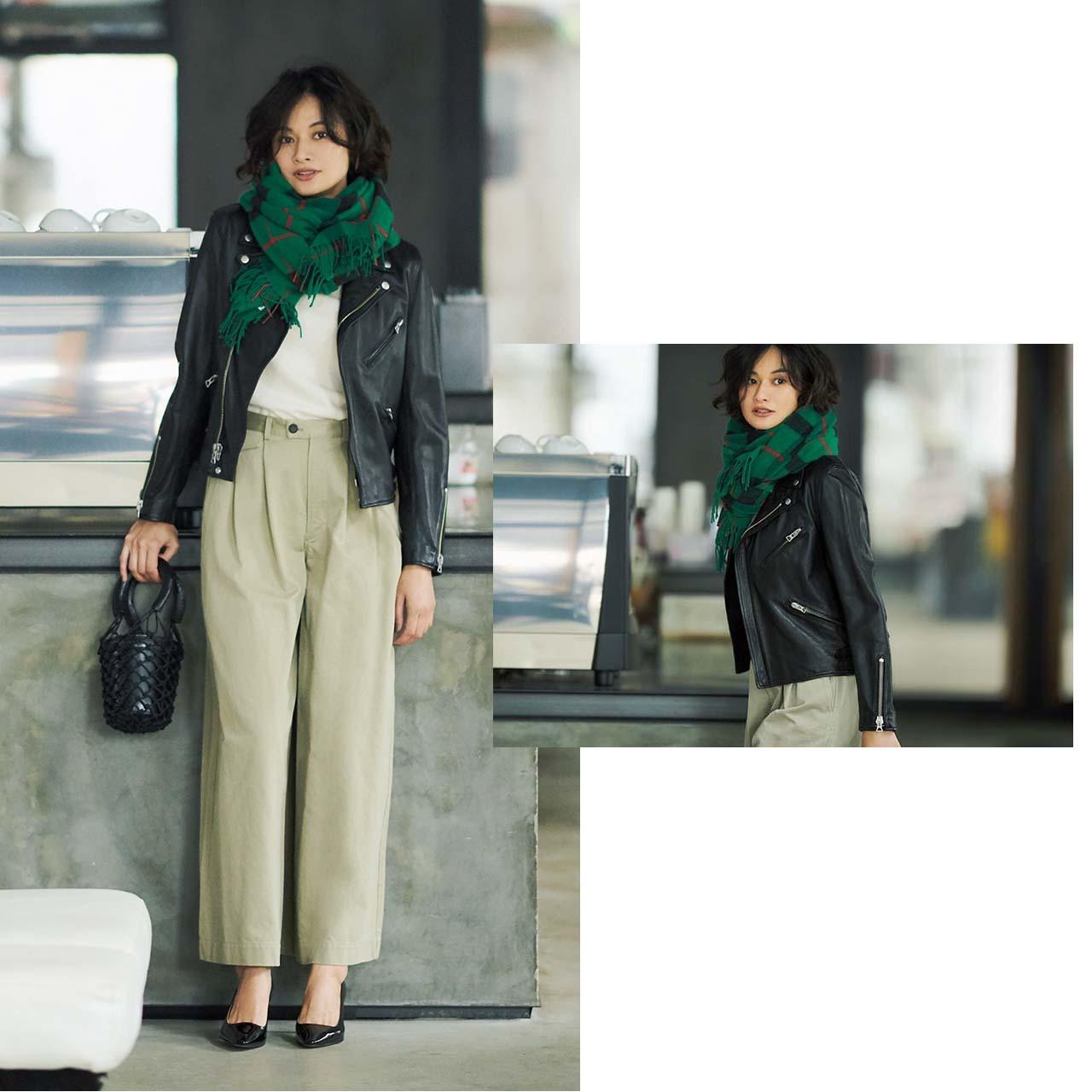 ライダース✖ストールコーデを着たモデルの渡辺佳子さん