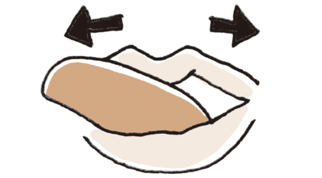 舌を左右に動かす。左右3セット。