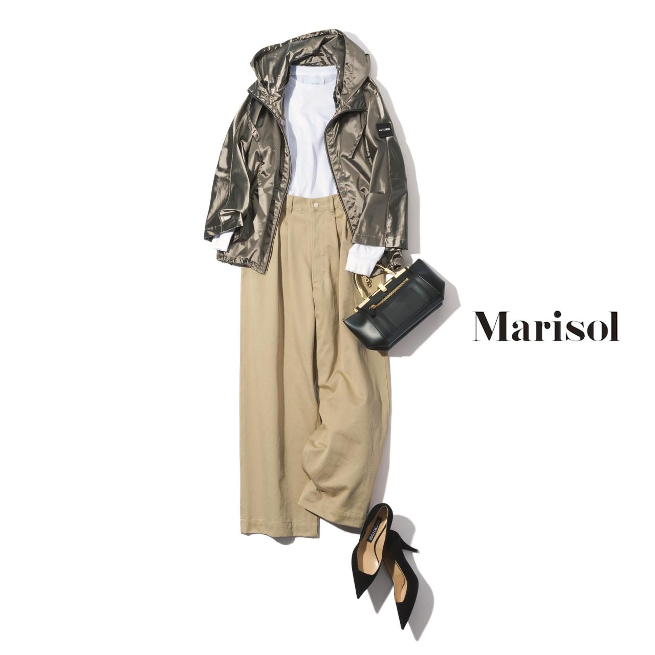 40代ファッション アスレジャージャケット×ワイドパンツコーデ