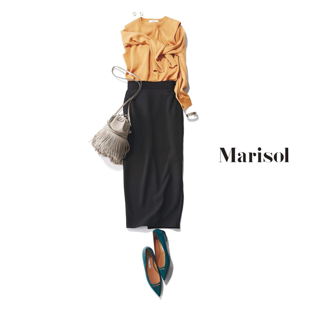 40代ファッション ニット×タイトスカート×フリンジバッグ×とんがりフラット靴コーデ
