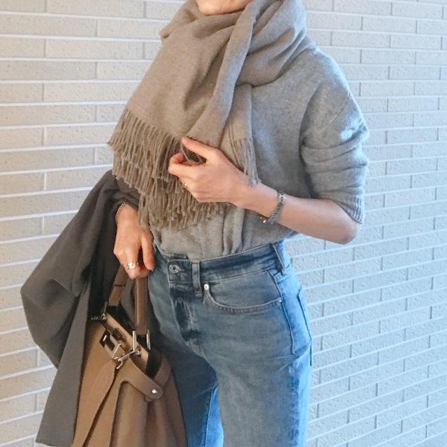 極寒の日に大判ストール&デニムで表参道ランチコーデ_1_3