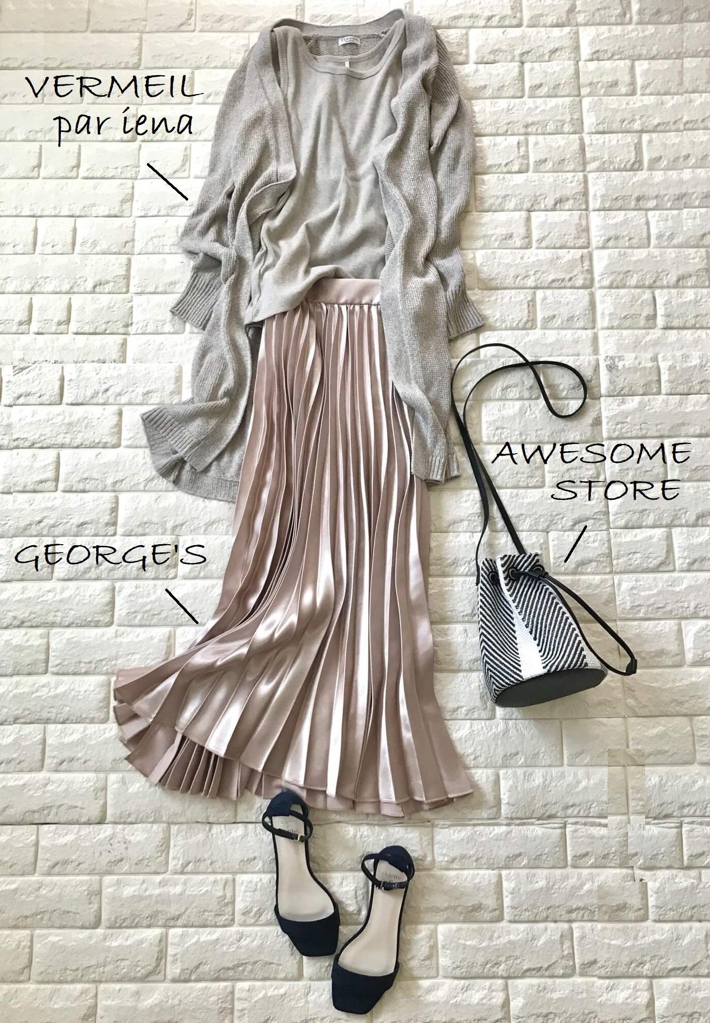オデットエオディールのサンダルとピンクのスカートを合わせた画像