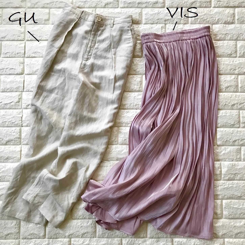 GUのパンツとVISのスカートを並べた画像
