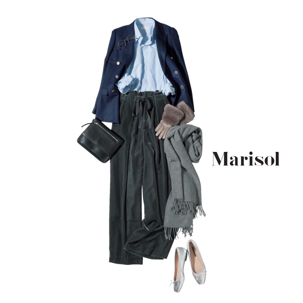 ファッション ダブルジャケット&シャツ×ベルベットワイドパンツコーデ