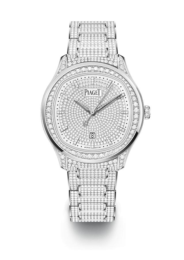 「ピアジェ ポロ デイト」(36mm径、ホワイトゴールド×ダイヤモンド[計約8.14cts]、自動巻き、パワーリザーブ40時間、サファイアケースバック)¥19,800,000
