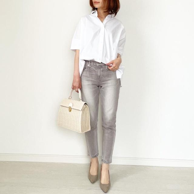 春の白シャツ4スタイル全てお見せします!【tomomiyuコーデ】_1_6