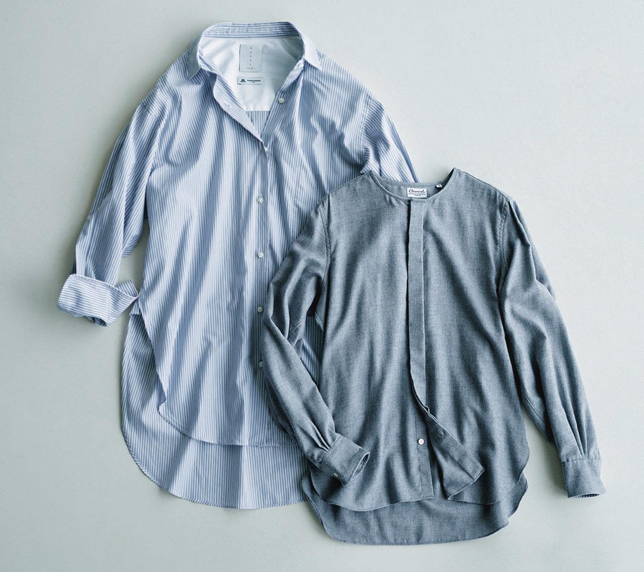 (左)HAVEL studioのビッグシャツ (右)CHARVET のフランネルシャツ