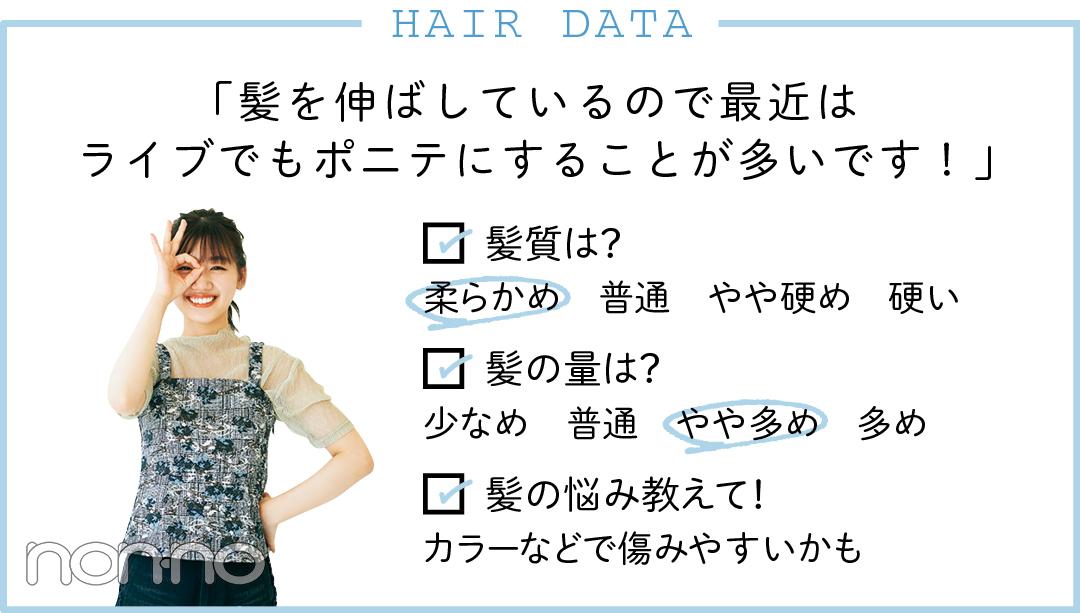 HAIR DATA 髪を伸ばしているので最近はライブでもポニテにすることが多いです!