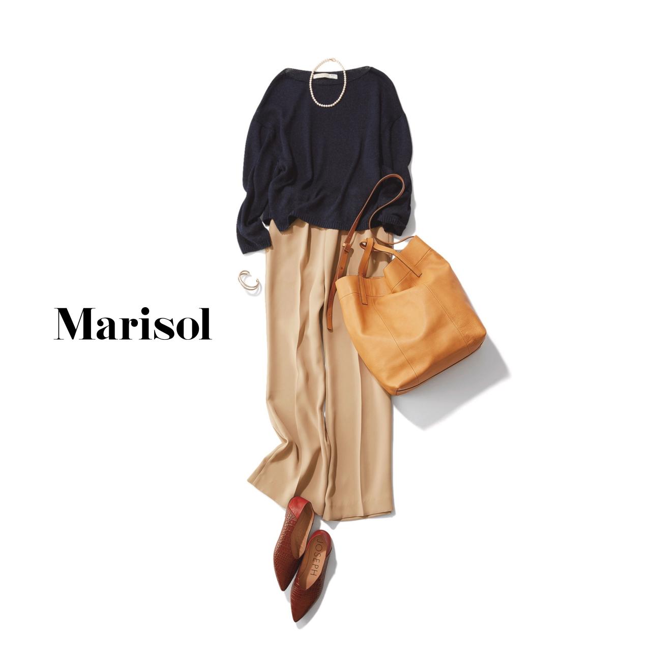 40代ファッション 黒ニット×ベージュワイドパンツコーデ