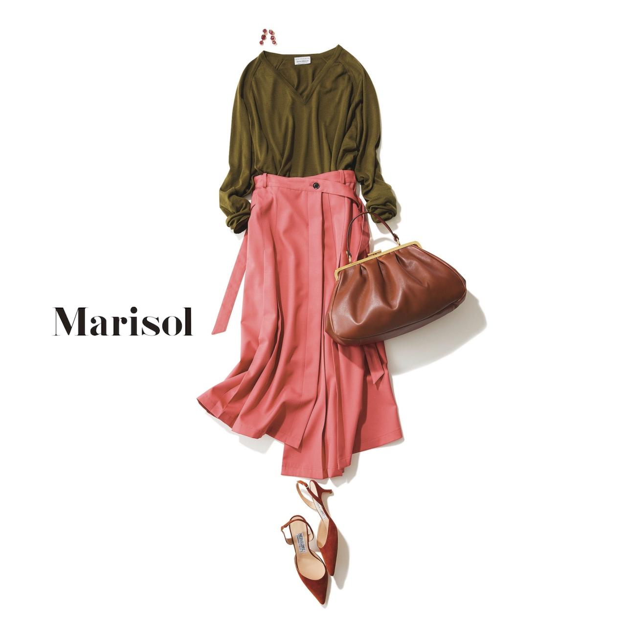 ファッション カーキニット×ピンクラップスカートコーデ
