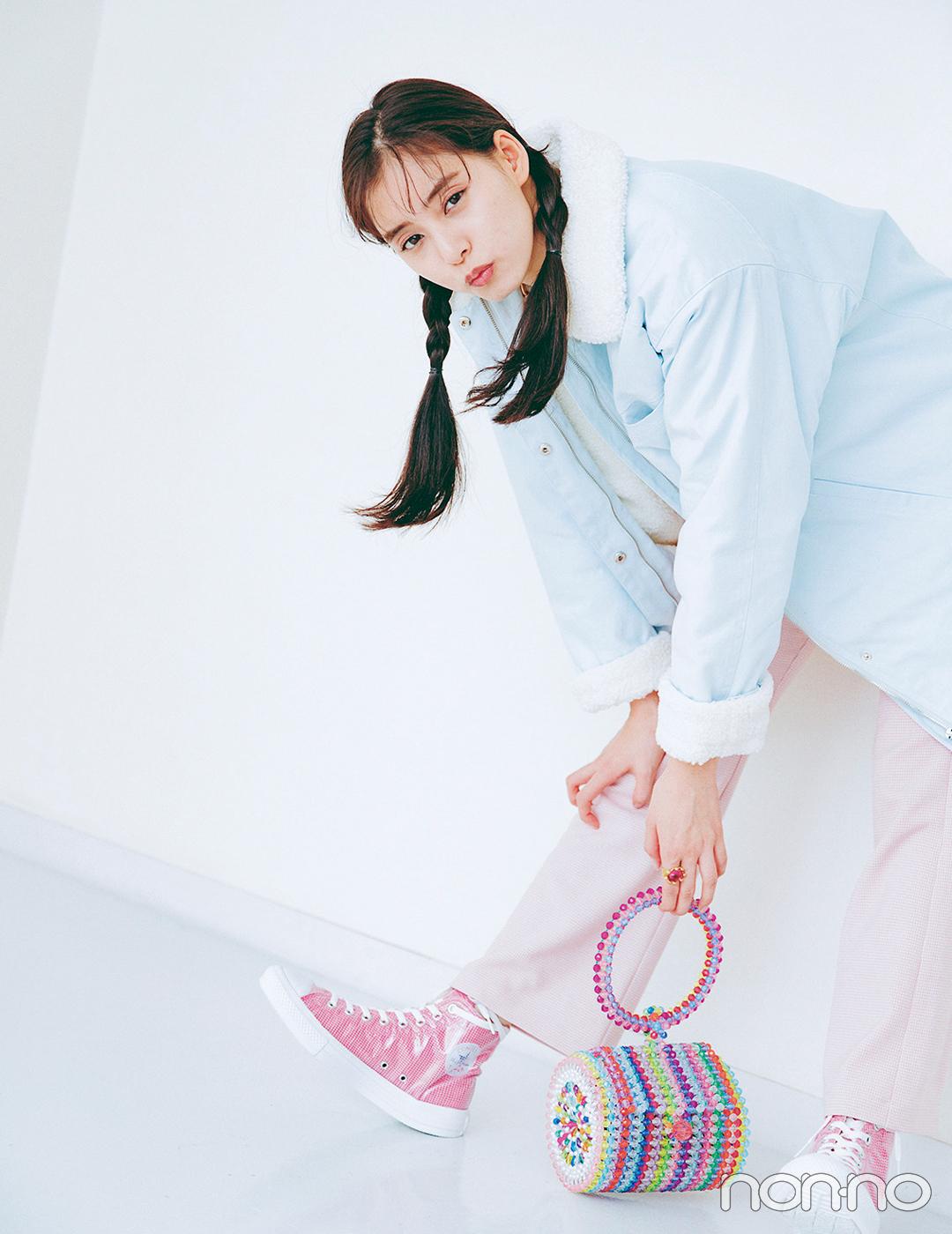 新木優子はパステルでまとめてカジュアルコーデをキュートにシフト♡【毎日コーデ】