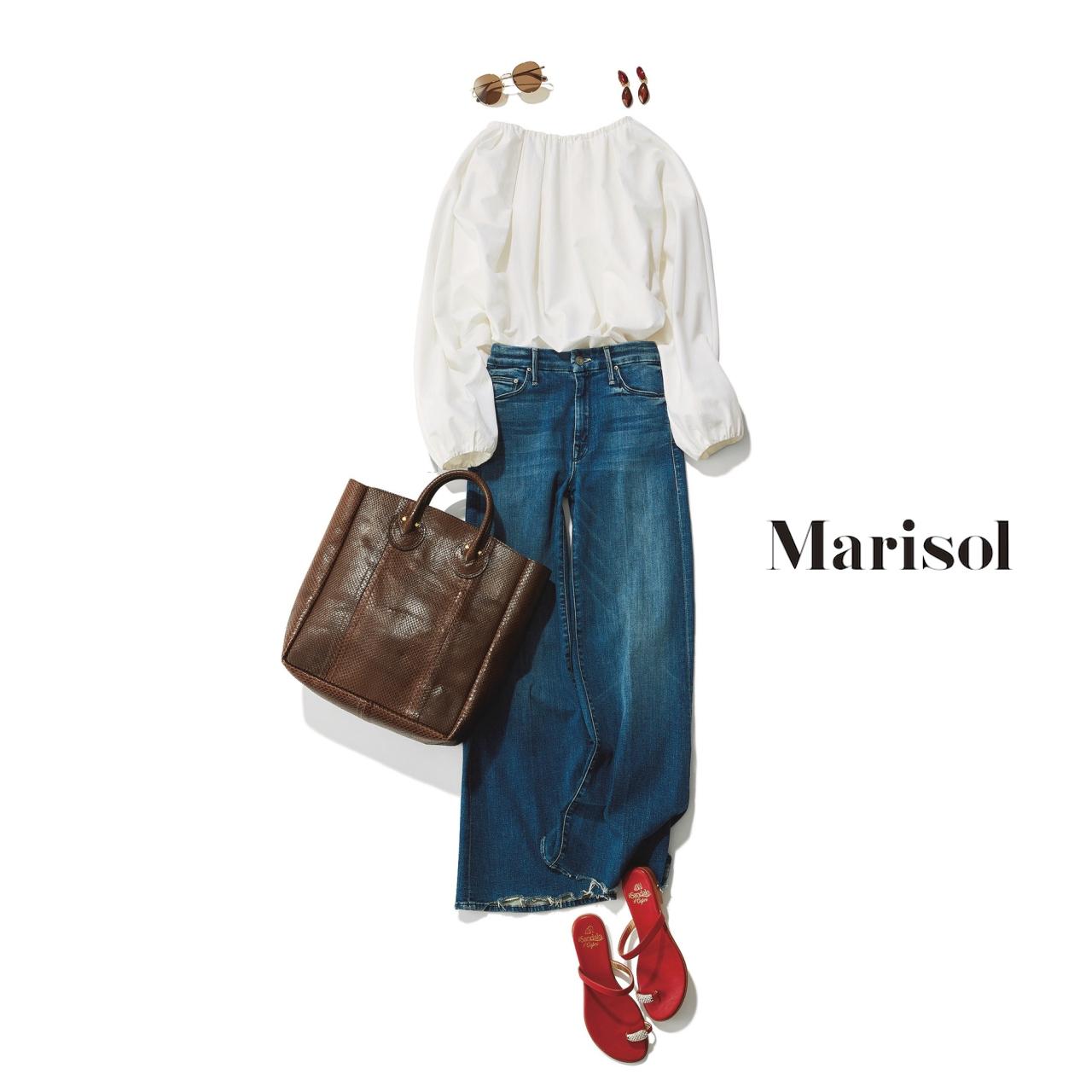 40代ファッション 甘ブラウス×ワイドデニムパンツコーデ