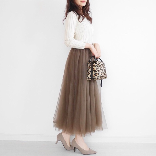 大人の可愛いは作れる♡ブラウンのチュールスカートに挑戦!_1_2