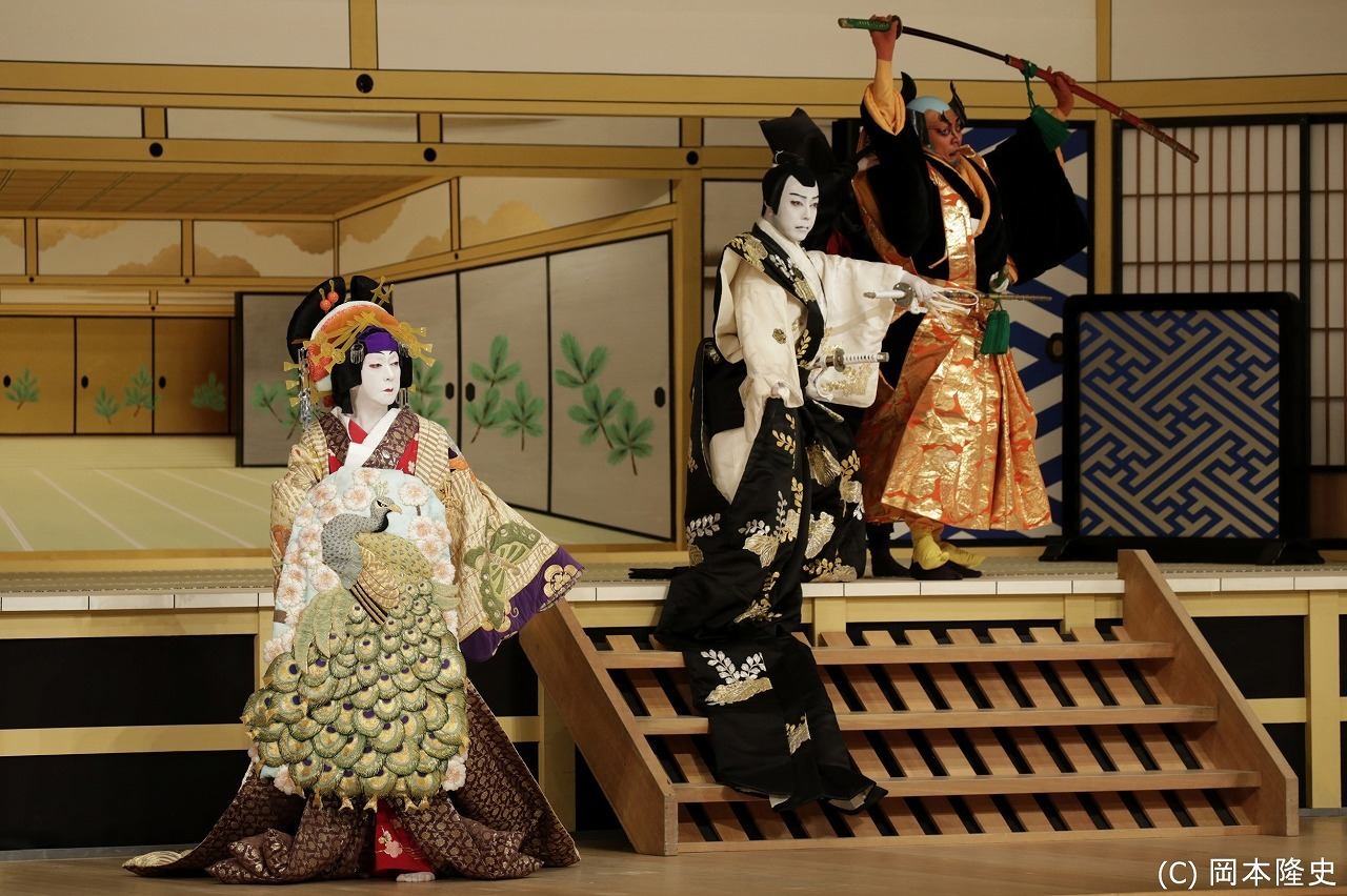 (左)坂東玉三郎丈(中央)尾上菊之助丈(右)坂東亀三郎/『阿古屋』