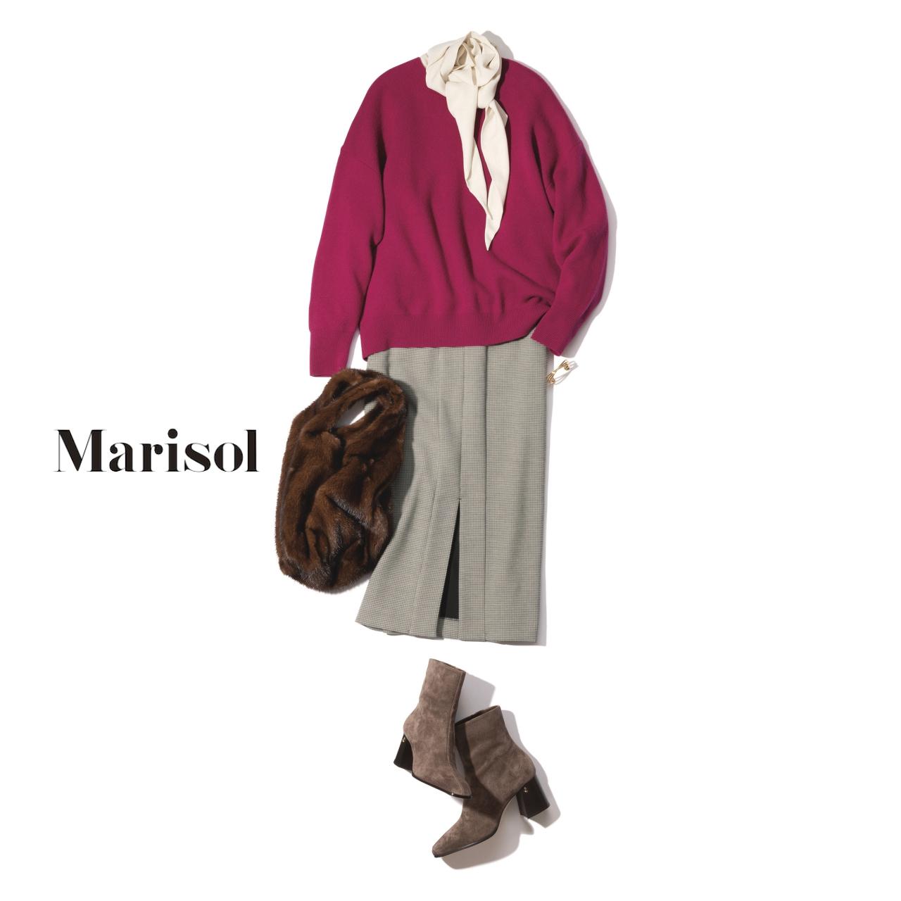 40代ファッション クルーネックニット×シルクブラウス×スカートコーデ