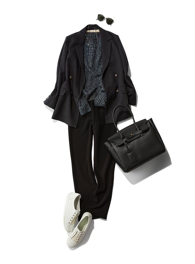 【Style 02】ラメ入りでぱっと華やか。ジャケットと合わせてこなれ感いっぱいに