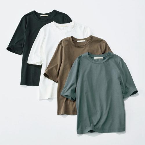 これからのシーズンに活躍間違いなし!「E by éclat」の大人五分袖Tシャツ、艶とろIラインスカート_1_2