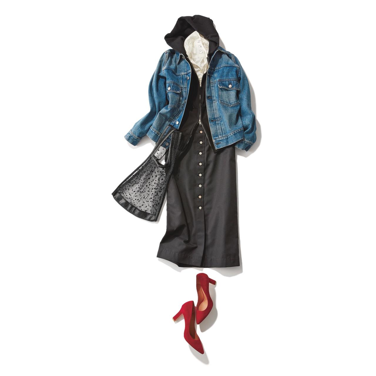 ファッション デニムジャケット×黒タイトスカートコーデ