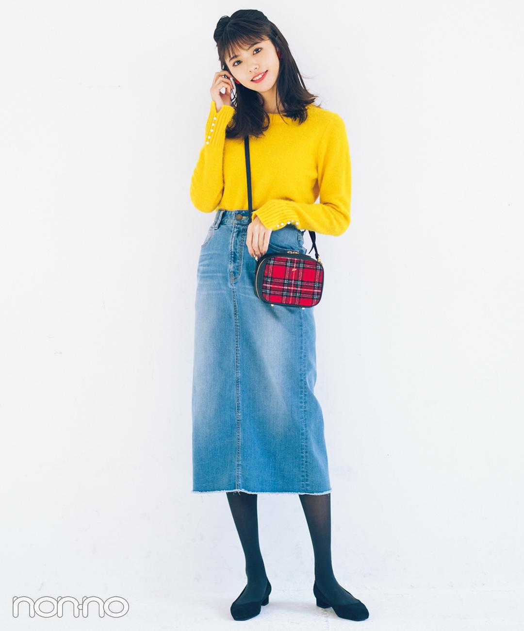 【デニムスカートコーデ1】ヴィンテージ風ウォッシュ×チャコールタイツ&黒パンプス