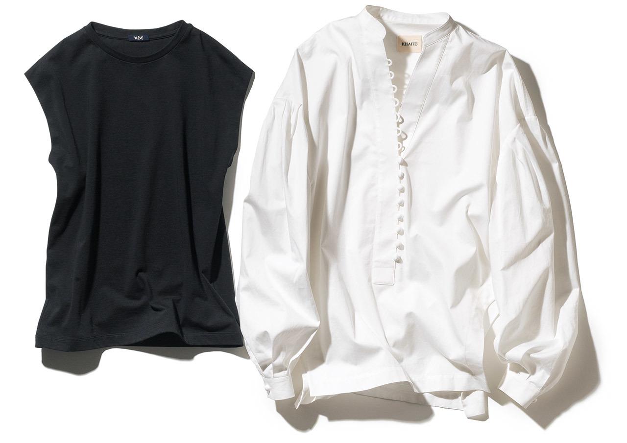 磯部のデザインのきいた白シャツ、三尋木のノースリーブカットソー