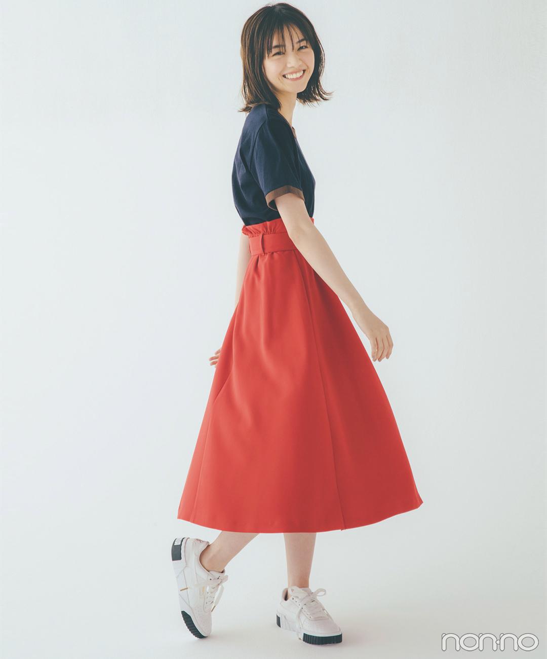 西野七瀬は赤のフレアスカートを主役にフレンチガール気分!【毎日コーデ】_1_1