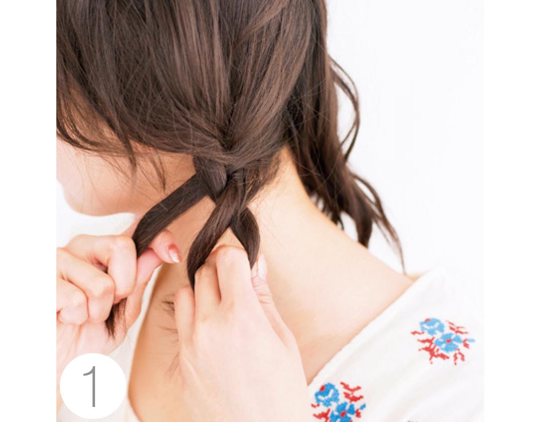 夏の小顔ヘアアレンジ★前髪と触角まわりでひし形を作る!_1_3-1