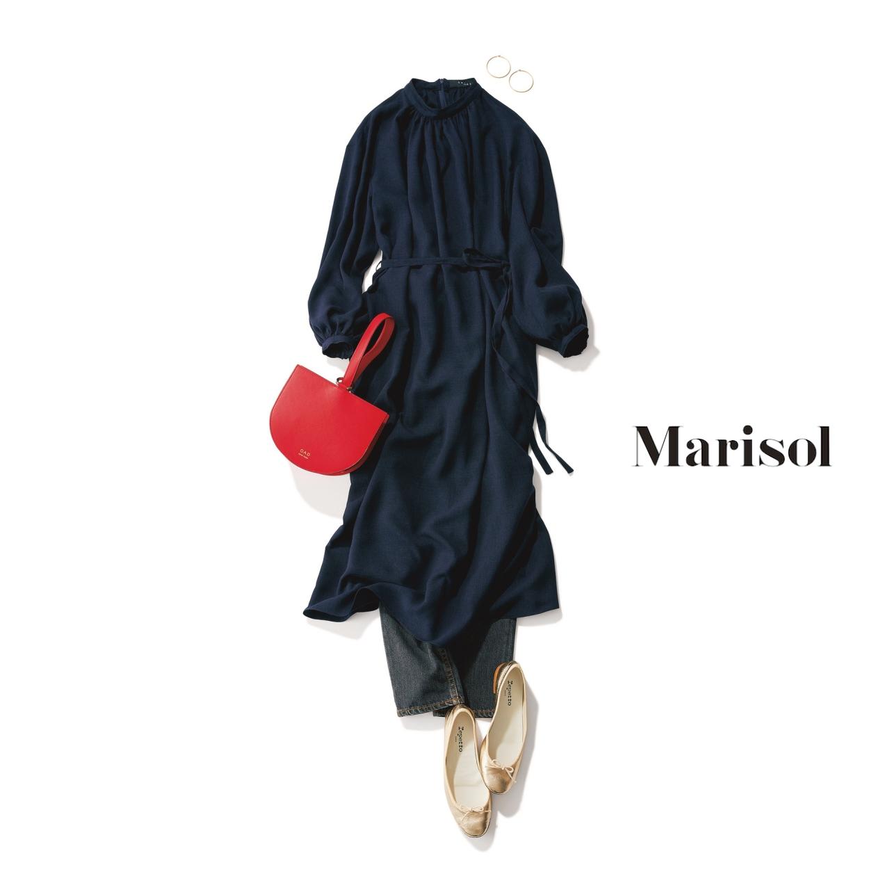 40代ファッション ネイビーワンピース×デニムコーデ