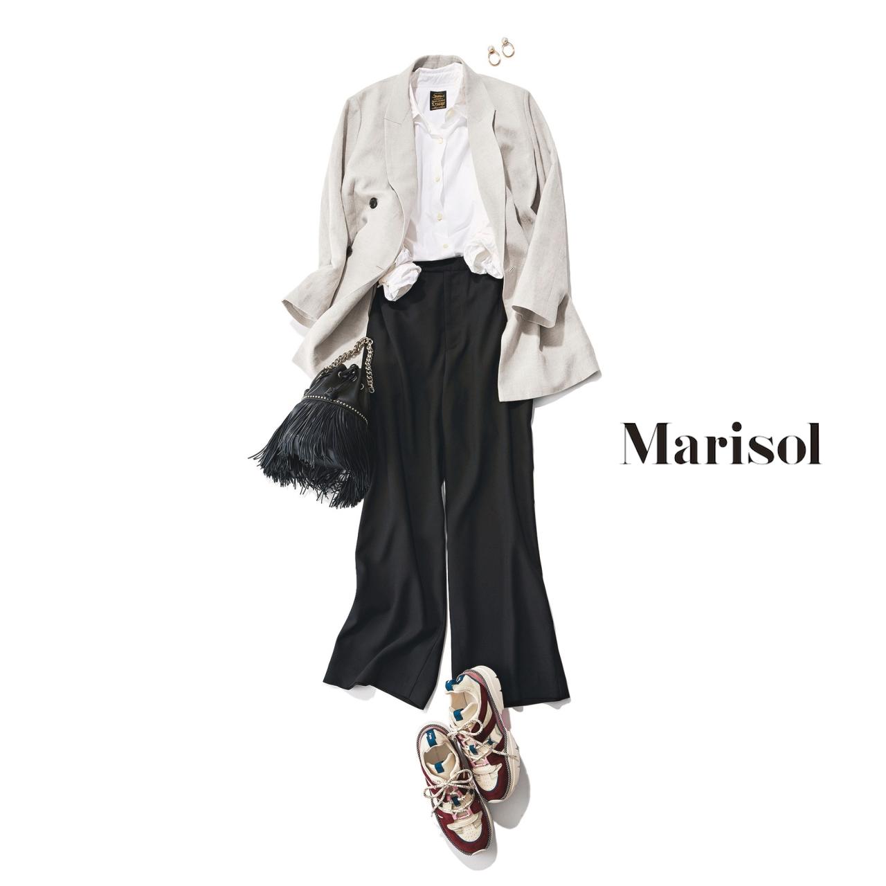 40代ファッション ジャケット×シャツ×黒パンツ×スニーカーコーデ