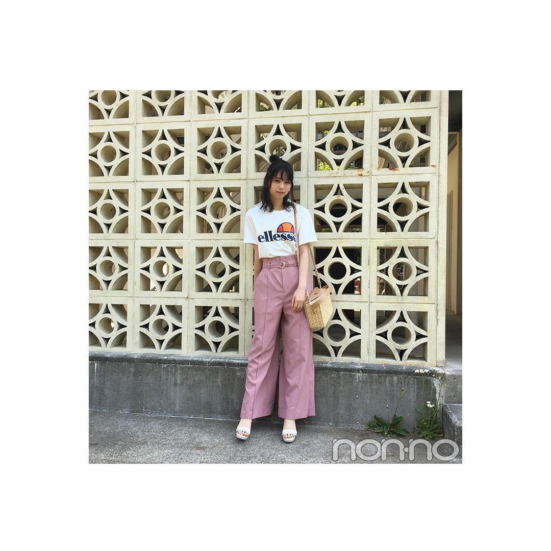西野七瀬はピンクでスポーツロゴTを可愛く着こなす!【毎日コーデ】_1_1