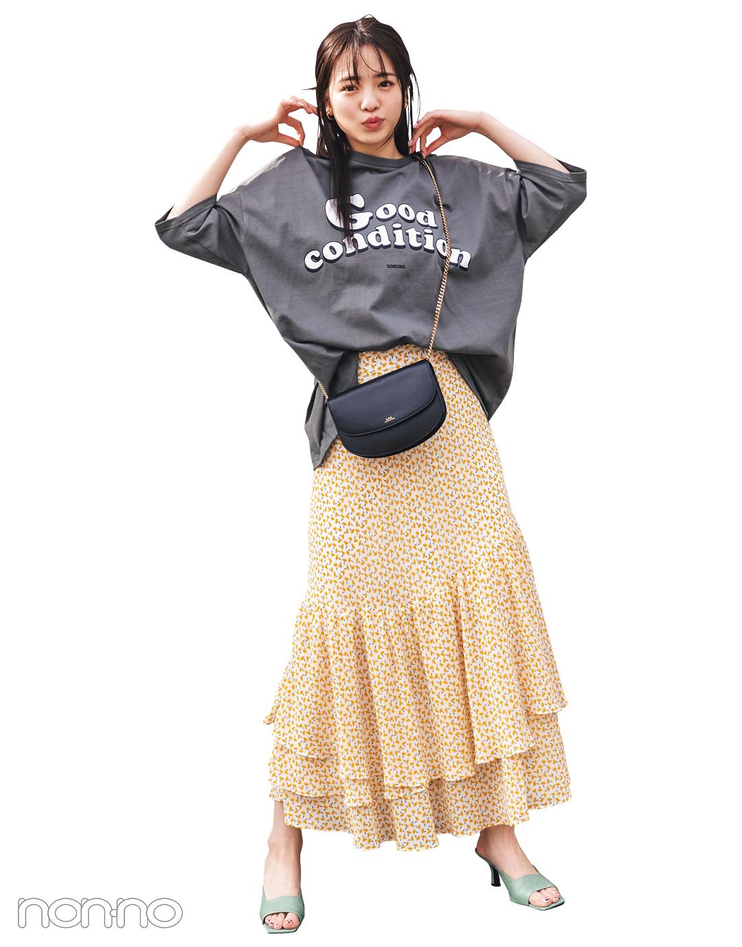 横田真悠が着るスタイルアップするSUPERTHANKSのメンズTシャツコーデ23