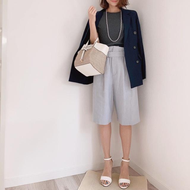 アラフォーのハーフパンツコーデ【momoko_fashion】_1_1-1