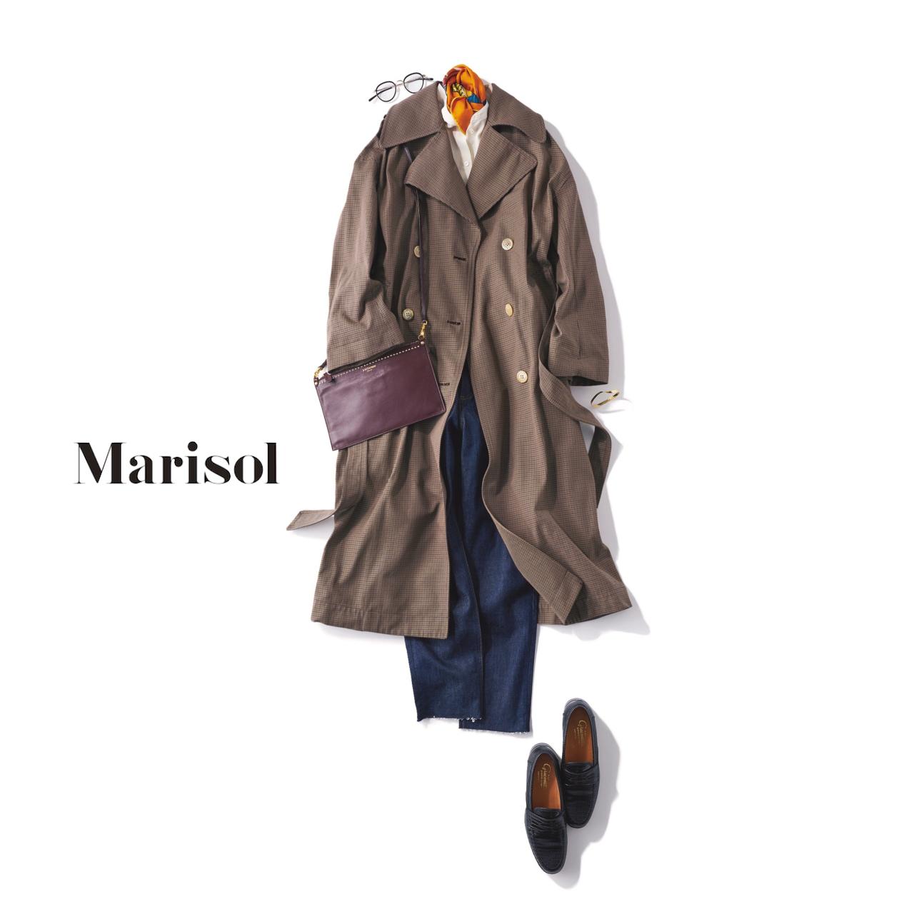 40代ファッション チェックコート×デニムコーデ