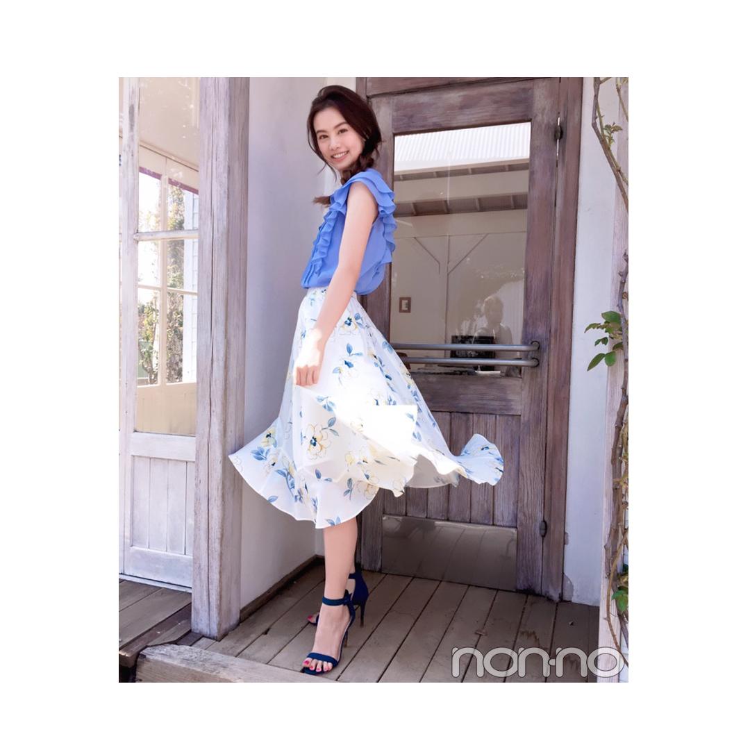毎日コーデ★泉はるは花柄スカートをブルー&イエローで爽やかに_1_1